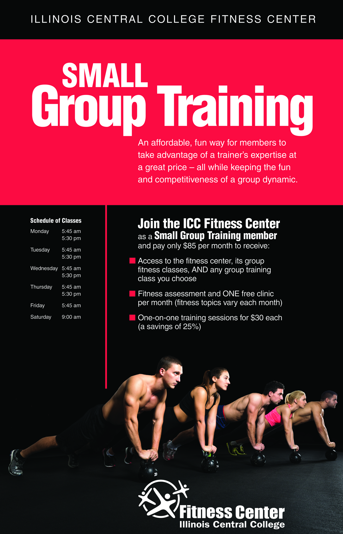 Fitness center around campus a fitness assessment one free clinic per month fitness topics vary each month and a 25 discount for one on one training sessions 30 each 1betcityfo Images