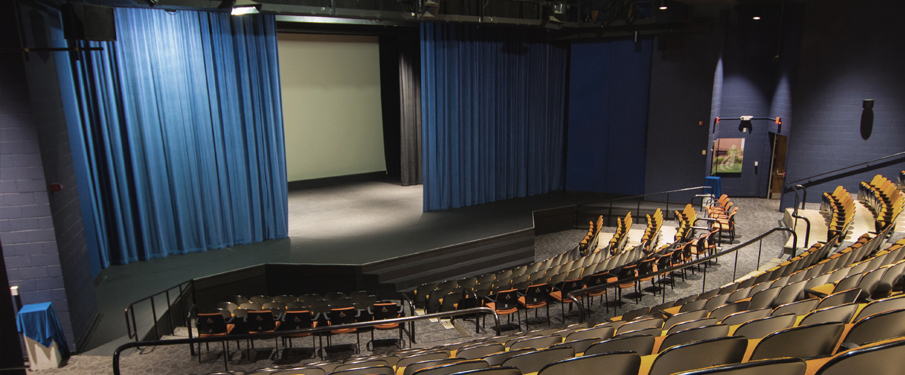 Wide shot of the Performing Arts Center Main Stage available for rental.