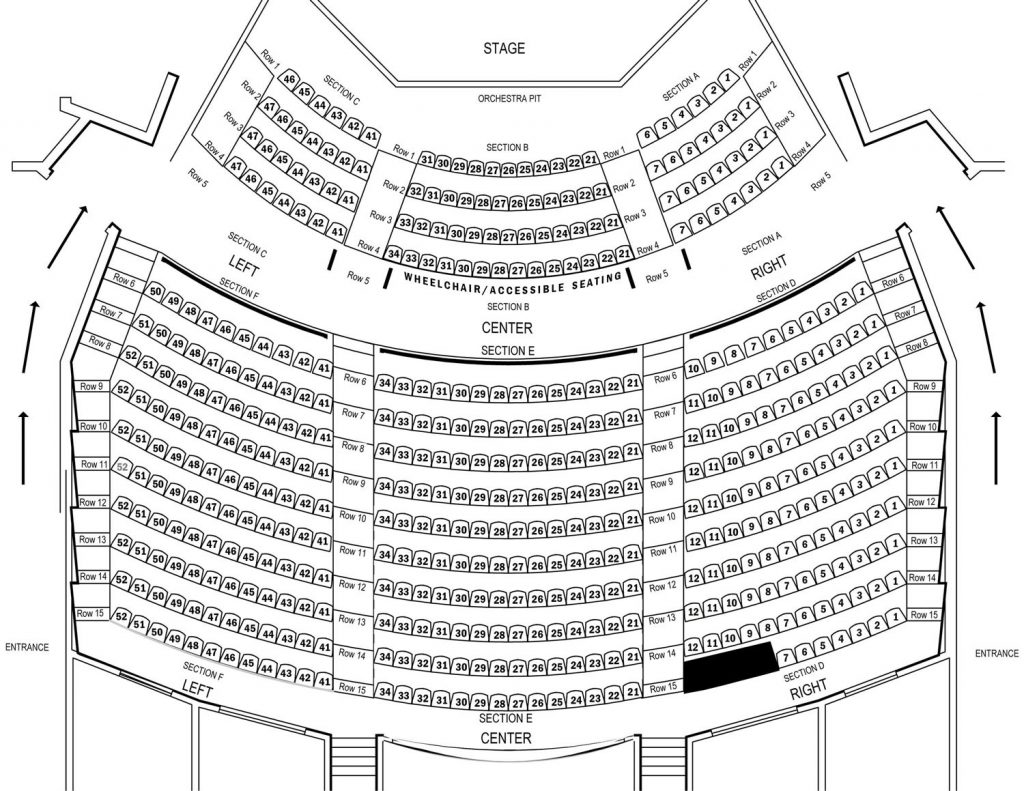 Seating Chart for the ICC Performing Arts Center Main Stage.
