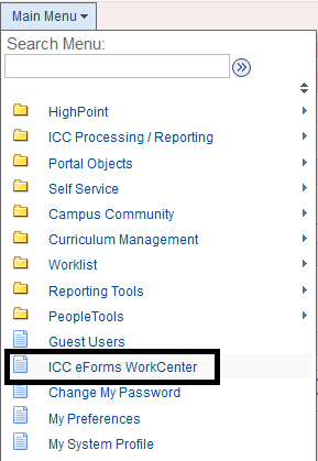 Screenshot of navigation list in eServices full site