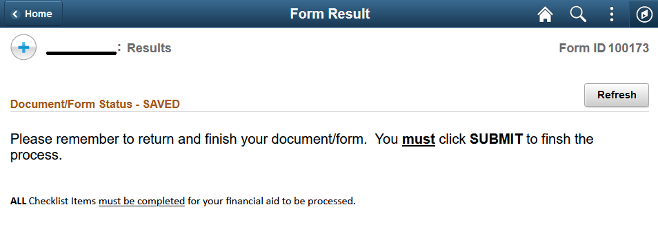 Screenshot of form submission result