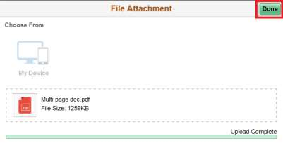 Screenshot of document uploaded and attached