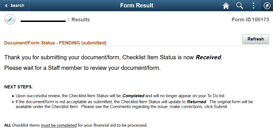 Screenshot of the form result page with line on the top left indicating where the name of the form will be located